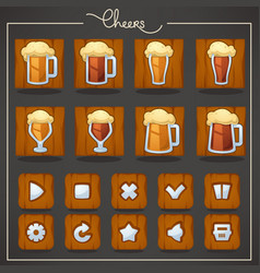 Cheers draft beer glasses and mugs objects and vector