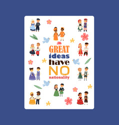 children nationalities poster vector image