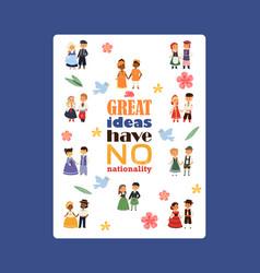 Children nationalities poster vector