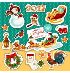 Christmas and New Year winter holidays sticker set vector