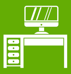 computer desk workplace icon green vector image