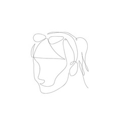 continuous one line woman with glasses vector image