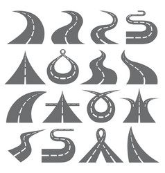 curving road symbols flat icons set vector image