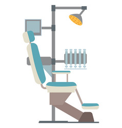 Dental chair with lighting lamp vector