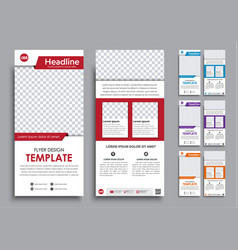 Design white flyers narrow in 4 color options vector