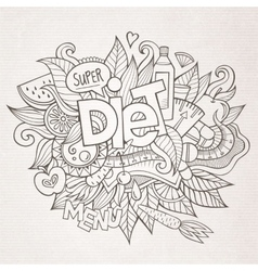Diet hand lettering and doodles elements vector