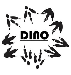 dinosaur footprint tracks black set paw animal vector image