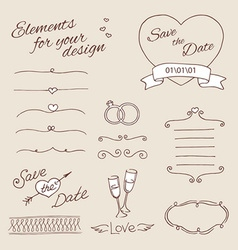 Drawing elements for design wedding vector