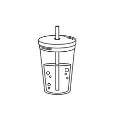 Drinks disposable cup beverage with cap and straw vector