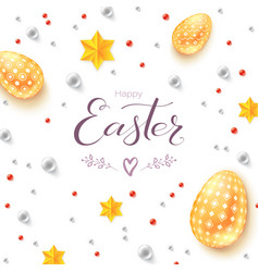 easter decorative banner easter eggs gold stars vector image
