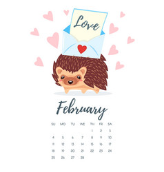 february 2018 year calendar page vector image