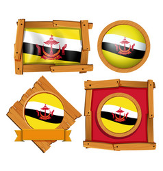 Flag of brunei in different frames vector