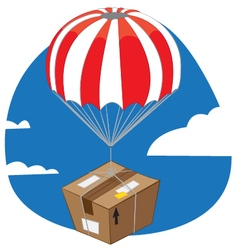 Funny package with parachute landing vector