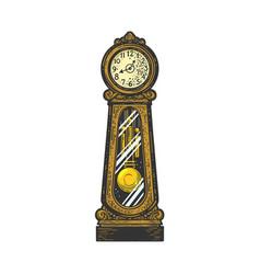Grandfather clock sketch vector
