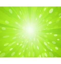 Green sunny rays background vector image