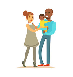 happy interracial couple with their little mullato vector image