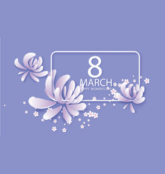 happy womens day 8 march card in purple colors vector image