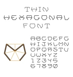 Hexagonal ABC Geometric Font Letters and Digits vector image