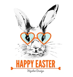 Hipster Easter rabbit Card vector image vector image