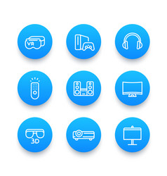 Home entertainment system linear blue icons set vector
