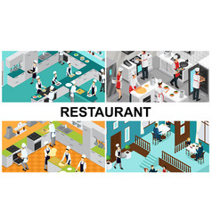 isometric restaurant cooking composition vector image