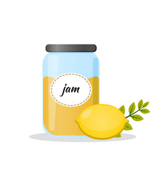 Lemon jam in transparent jar isolated flat icon vector