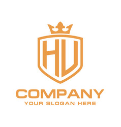 letter hu initial with shield and crown luxury lo vector image