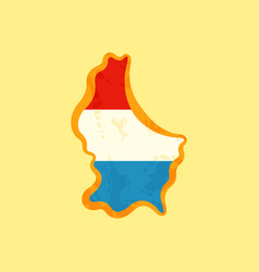 Luxembourg - map colored with flag vector