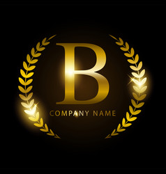Luxury golden letter b for premium brand identity vector