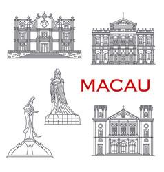 macau landmark buildings architecture line facades vector image