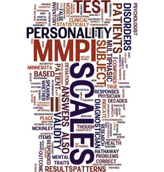 Mmpi ii test text background word cloud concept vector