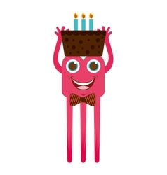 monster cartoon with cake isolated icon design vector image