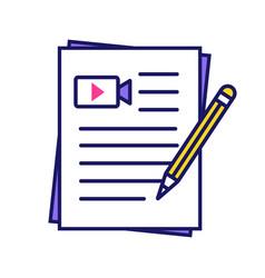 Movie scripts color icon vector