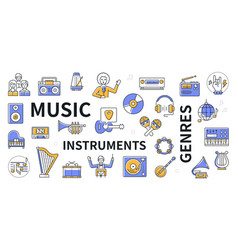 musical instruments and genres - line design icon vector image