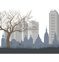 Nature the old and new city vector