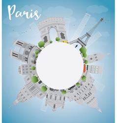 Paris skyline with grey landmarks vector image