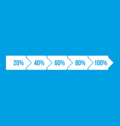 Percentage arrow infographic icon white vector