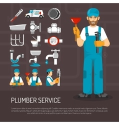 Plumbing Service Decorative Icons Set vector image