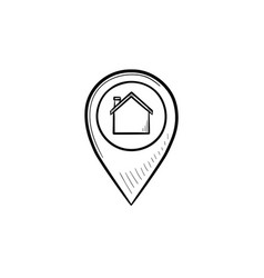 Pointer with house inside hand drawn outline vector