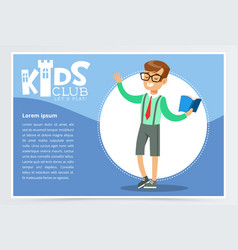 Poster for kids club with school boy character vector