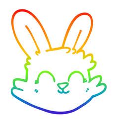 Rainbow gradient line drawing cartoon happy rabbit vector