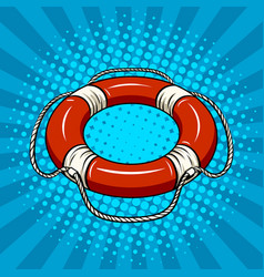 Red life buoy on the water pop art vector