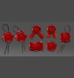 red wax seal stamp approval sealing icons set vector image