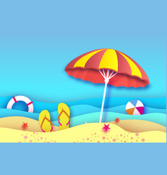 red yellow parasol - umbrella in paper cut style vector image
