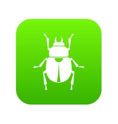 scarab icon digital green vector image