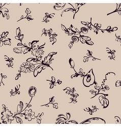 Seamless pattern flower beige background vector