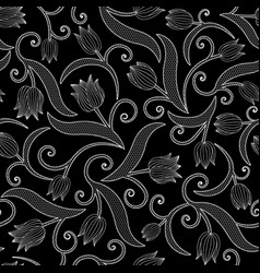 Seamless pattern with tulips on black background vector