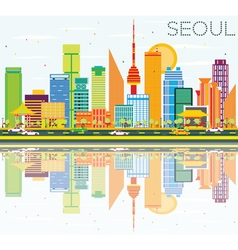 Seoul skyline with color buildings vector