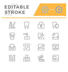set dental related line icons vector image