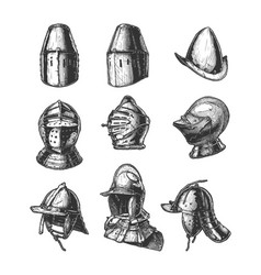 set different medieval military helmets vector image